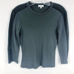 James Perse | Gray Velour Panel Long Sleeve Top